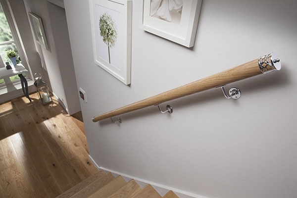 How To Choose Handrails For Stairs Cheshire Mouldings   Oak Wall Mounted Handrail   Oak Stair   Mopstick   Return   Handrail Bracket   Contemporary