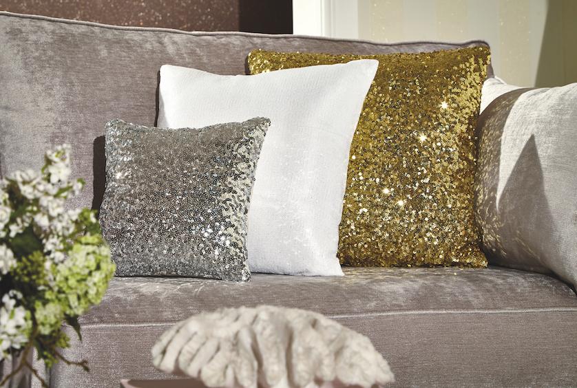 Arthouse Silver Sequin Cushion