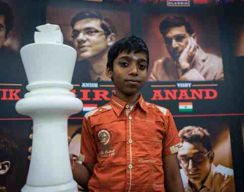 Ramesh Praggnanandhaa at the London Chess Classic. Photo by LENNART OOTES