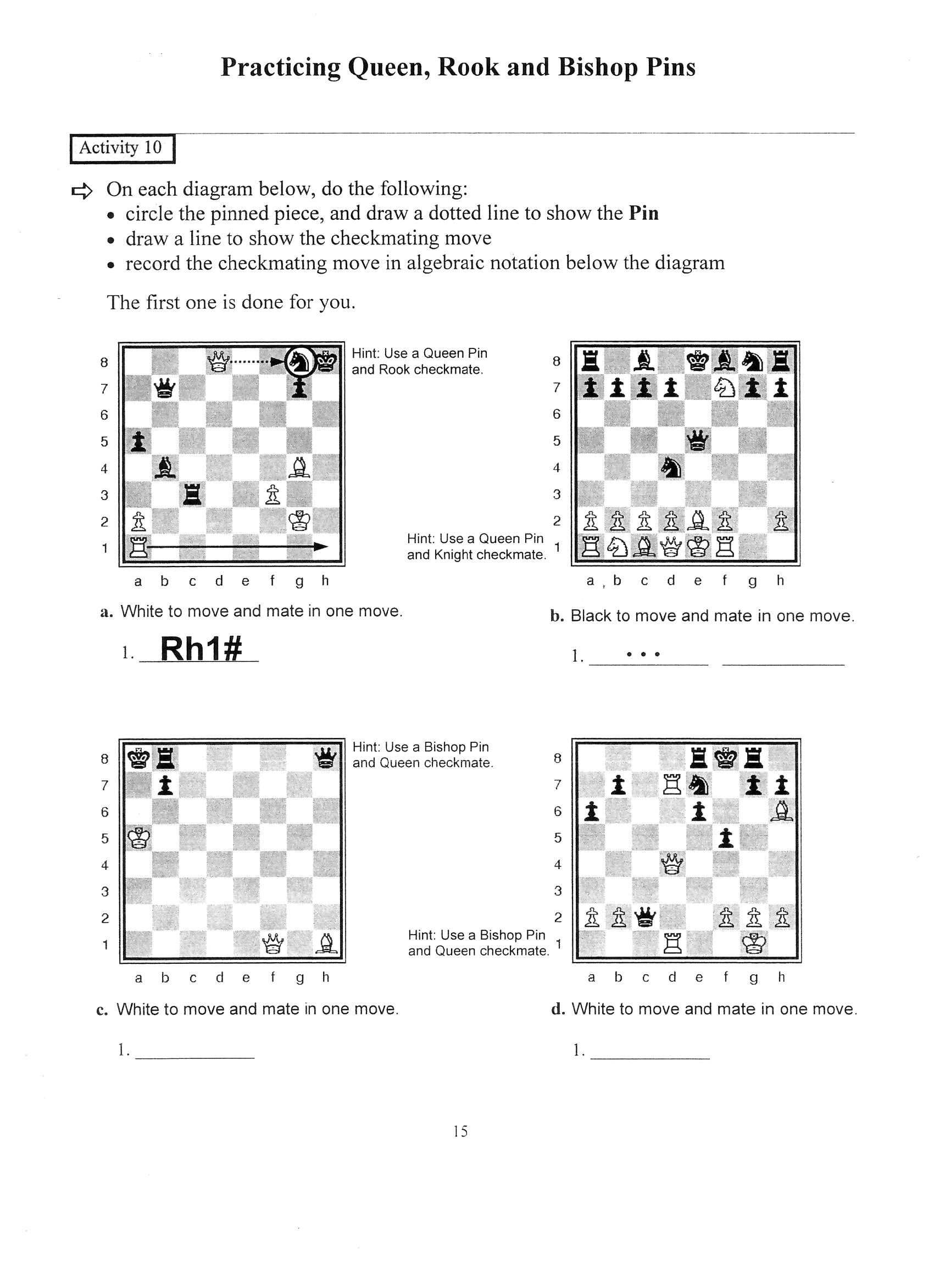 Chess Worksheet Students