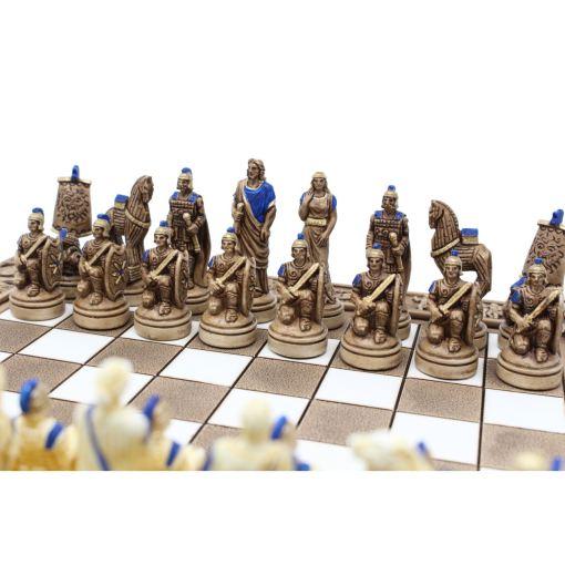 ARMA 陶器のチェスセット トロイア戦争 31cm 青 3