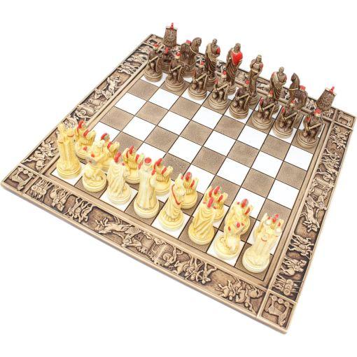 ARMA 陶器のチェスセット トロイア戦争 31cm 赤 1