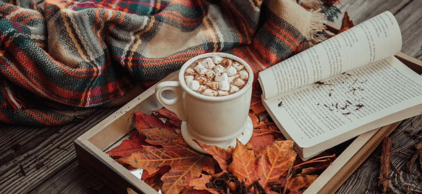 hot drink with book on tray