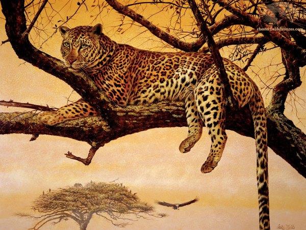 """leopard Siesta"" Wildlife Art Leopard Painting"