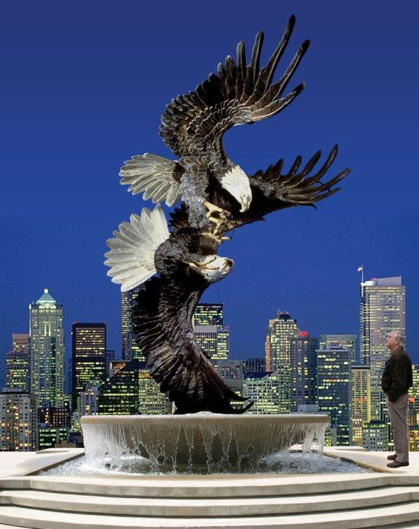 Bronze Eagle Sculpture