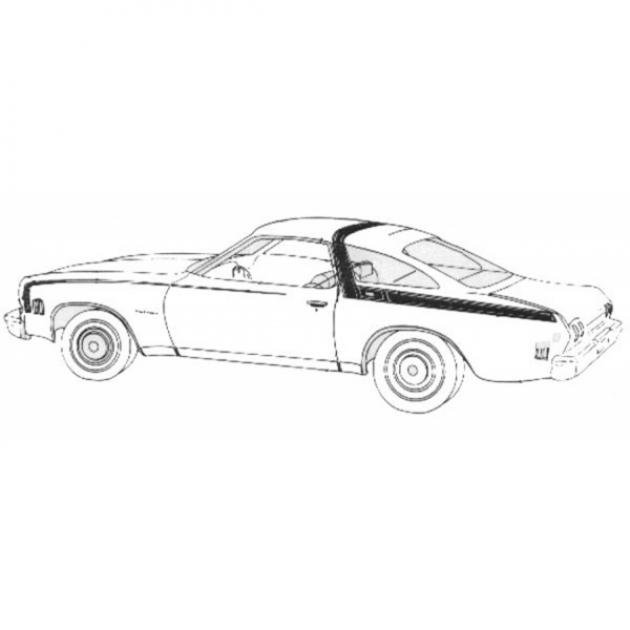Chevelle Roof And Belt Line Stripe Kit, 1973
