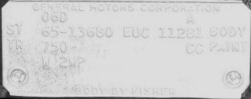 1965 El Camino Euclid Trim Tags