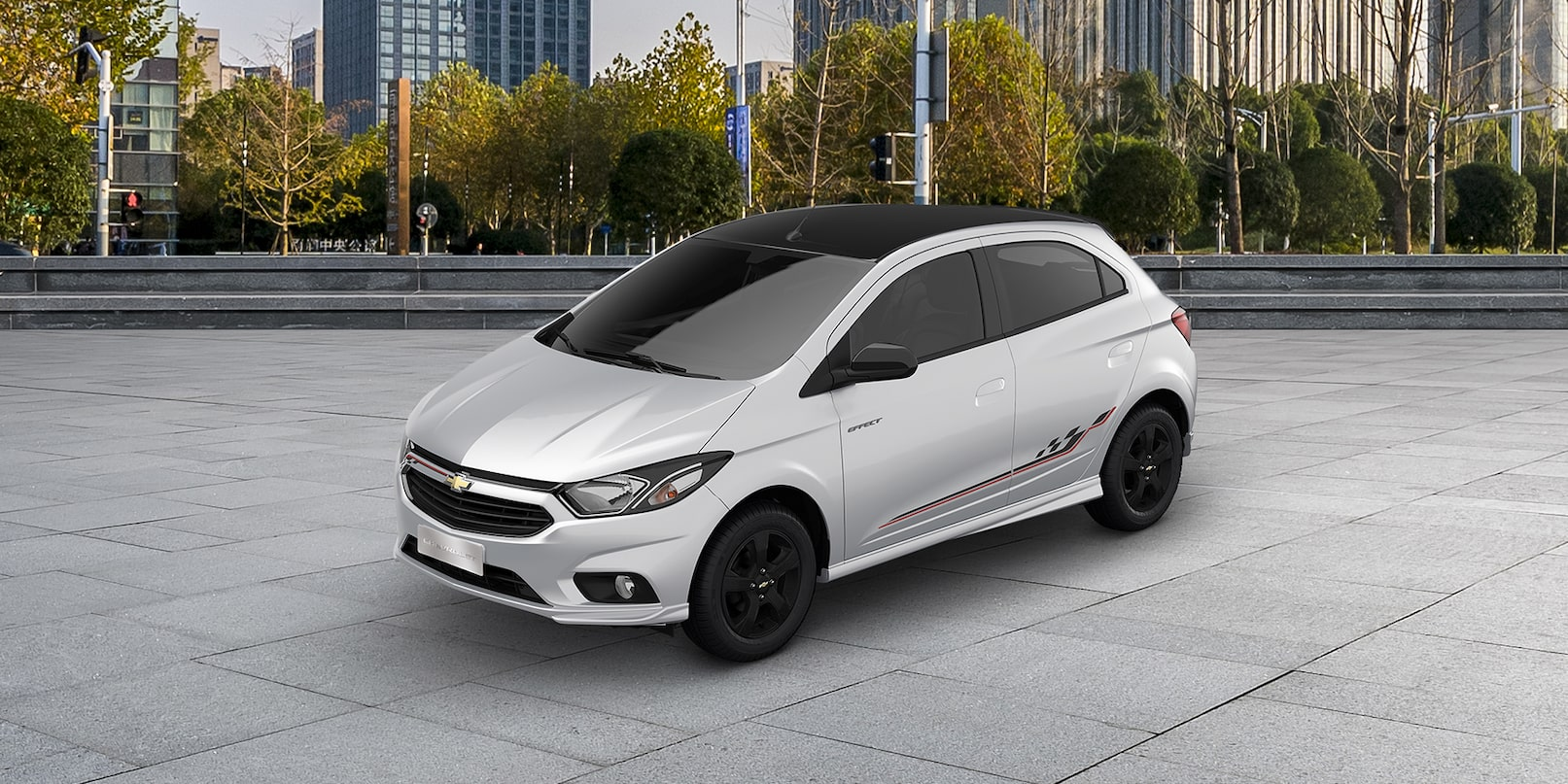 novo hatch chevrolet onix effect 2019 branco summit [ 1268 x 634 Pixel ]