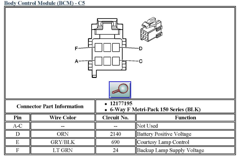 medium resolution of body control module bcm c5