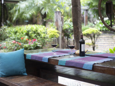 outdoor space with wine bottle