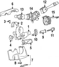 Diagram of recall parts:ignition switch,key cylinder
