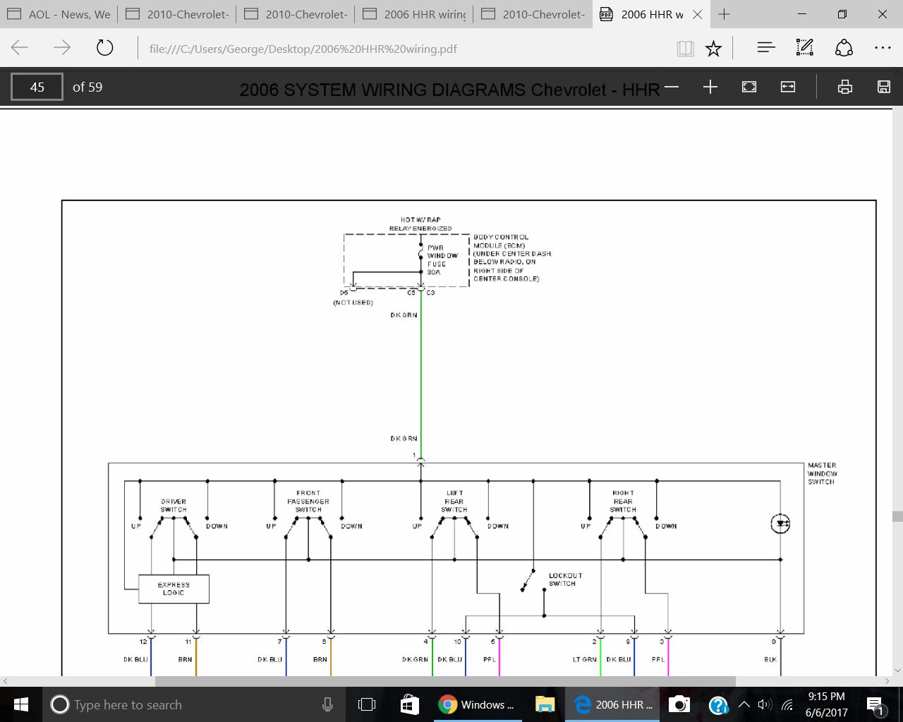 hight resolution of 2008 hhr window wiring diagram