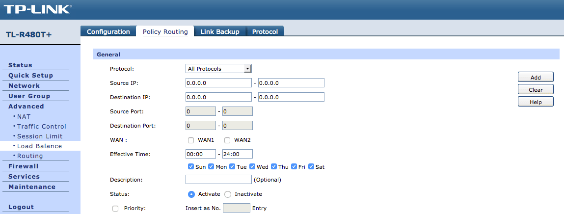 TP-Link TL-R480T+ Policy Routing Not Working? Disable Fail