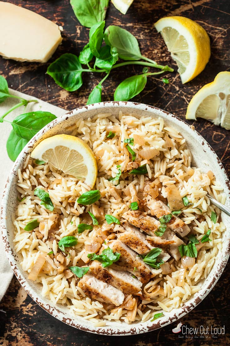 Lemon Basil Orzo With Chicken