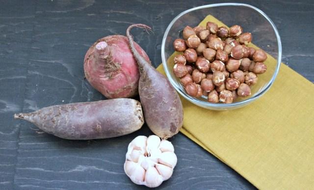 garlic beet hazelnut dip