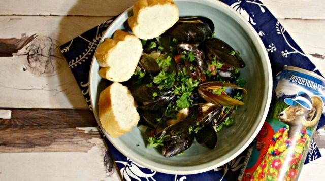 Gose Beer Steamed Mussels