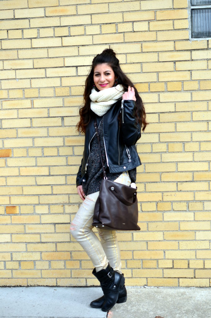 oversized sweater, leather jacket, metallic gold, combat booties