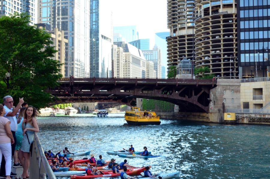 Chicago-RiverWalk View- Jacquard dress