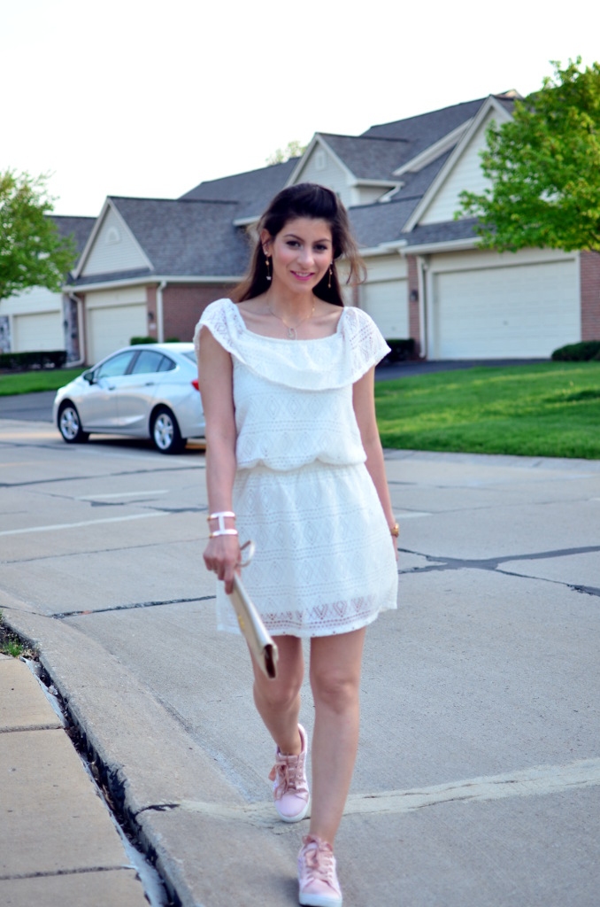 Lace white dress with plush pink sneakers
