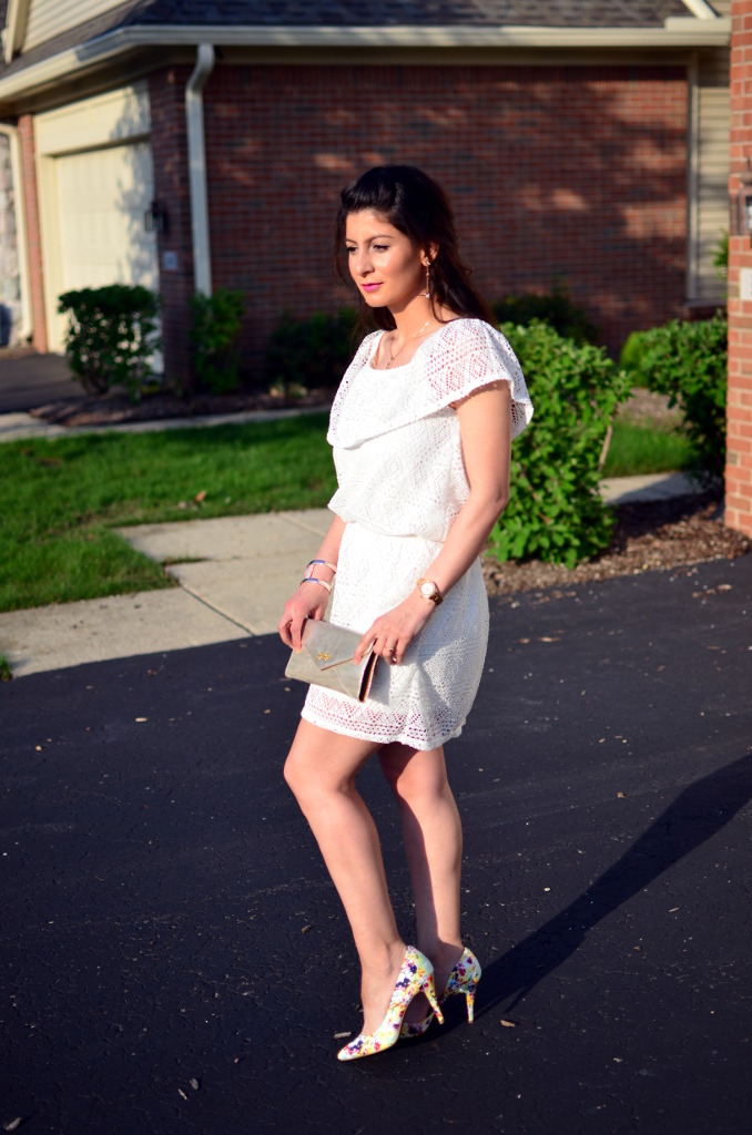 lace white dress with colorful pump