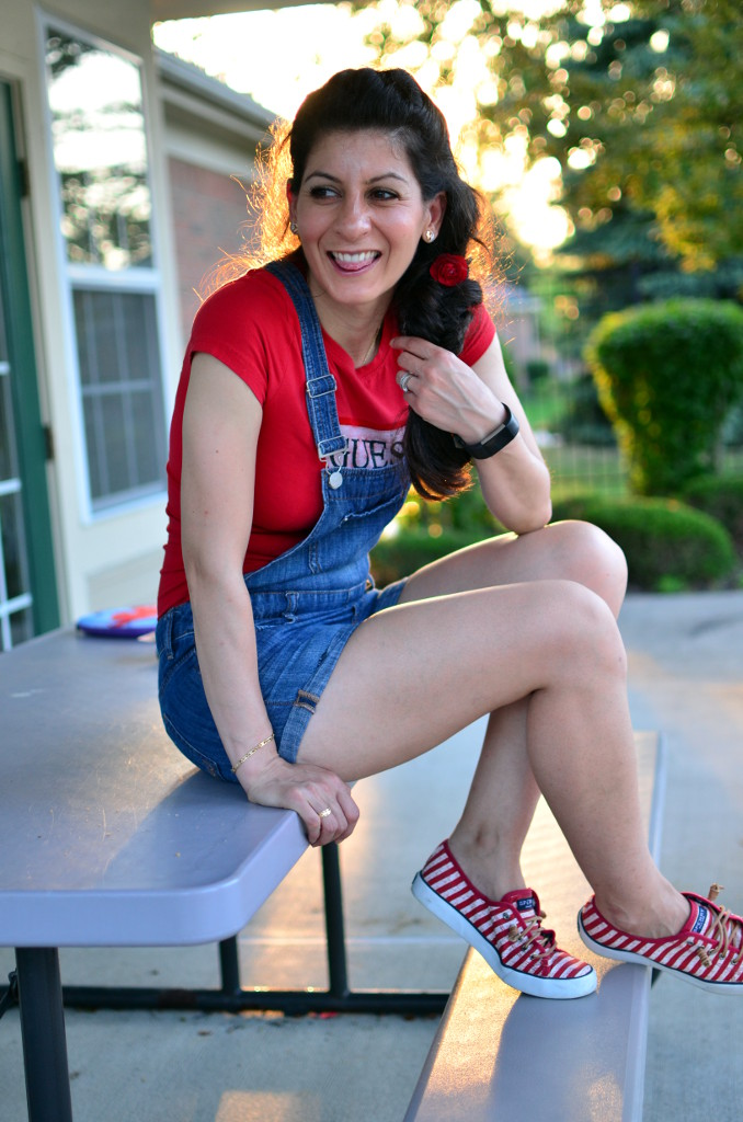 cute casual comfortable outfit-4th of July look