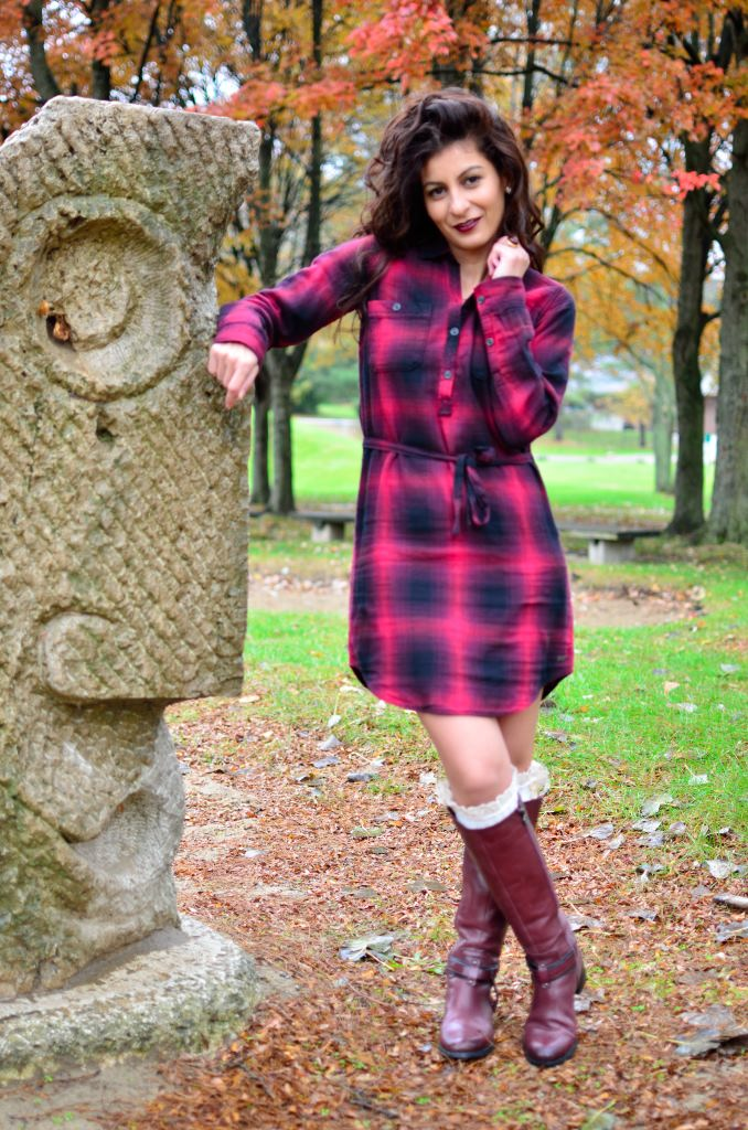 Red plaid shirt dress-Is plaid dress still in style this fall/ winter?-Plaid trend