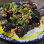 Beetroots Salad, with Drained Yoghurt and Roasted Walnuts.