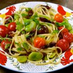 Broad Beans, Mini Tomato & One Day Dried Firefly Squid Linguine