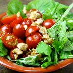 Mini Tomato, Rocket & Walnuts Salad, with Balsamique Vinegar.