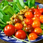 Hummus, Organic Mini Tomatos, Rocket, Walnuts Salad again & again……