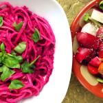 Organic Mini-Tomato, Rocket, Red Radish Salad, & Beetroots Pesto Sauce Linguine again