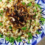 Instagram料理教室ムジャダラ、レンズ豆と玉ねぎの炊き込みご飯