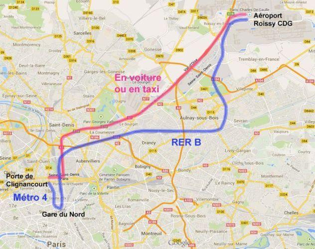 Trajet Roissy CDG - Paris