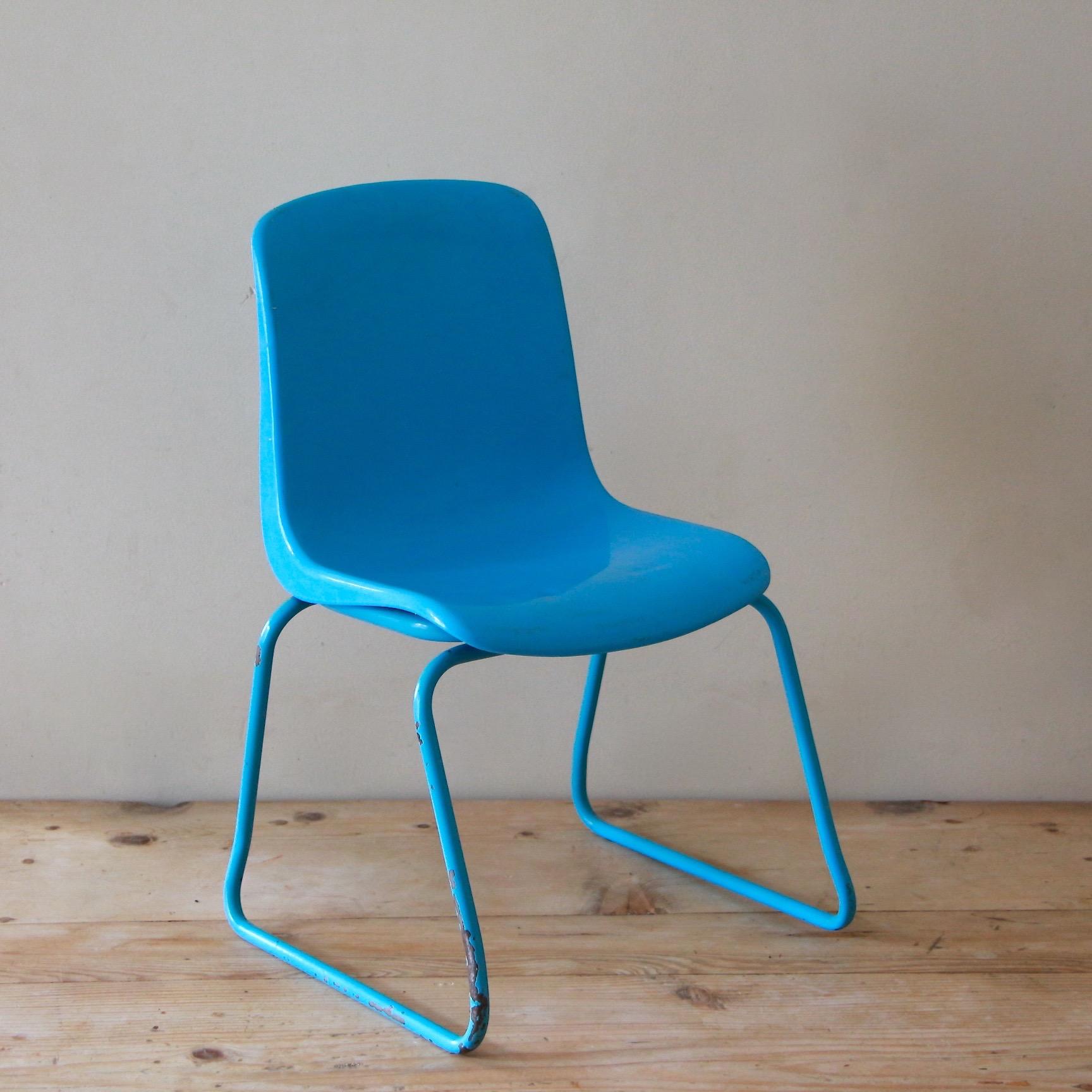 chaise enfant bleu vintage indus grosfillex