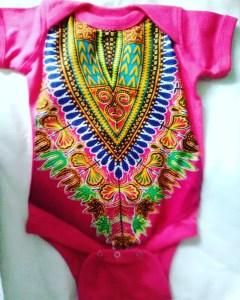 Pink Dashiki Onesie