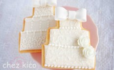 立体リボン・ウェディングケーキのアイシングクッキー