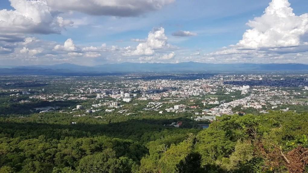 View on big city Chiang Mai almsgiving tour