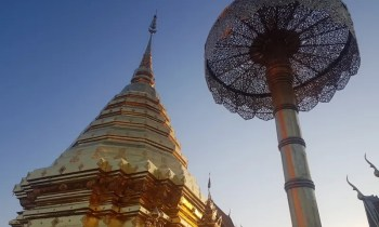 Temple chedi with umbrella Chiang Mai attractions