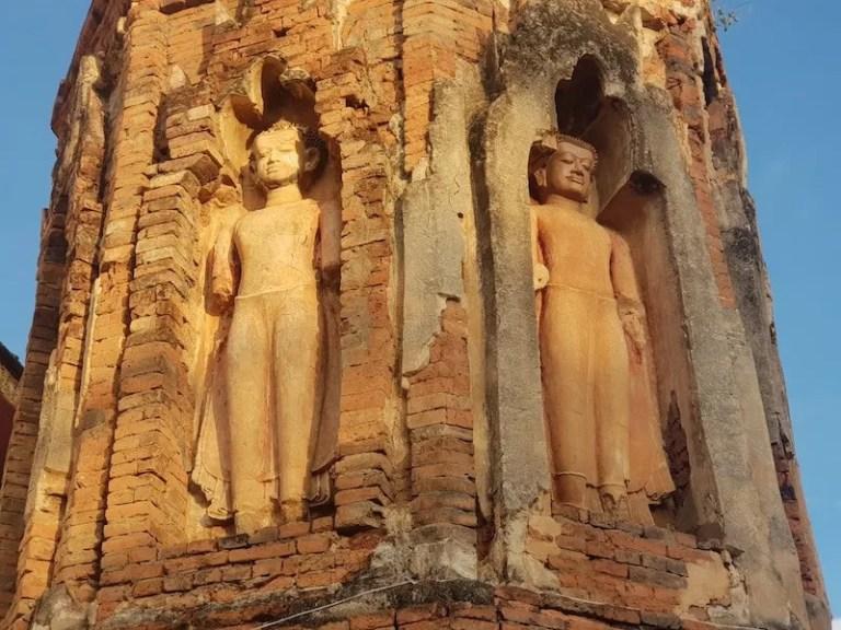 Buddha statues in brick tower