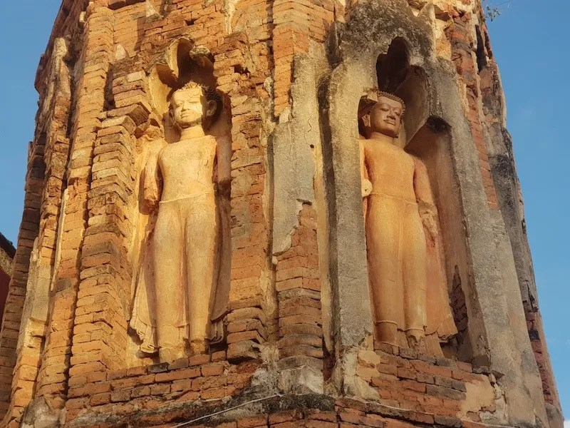 Buddha statues in brick tower