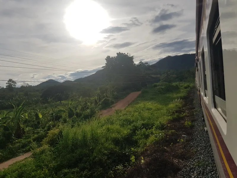 Train and sunset