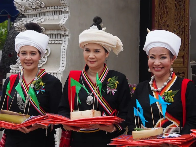 Three women in traditional dress