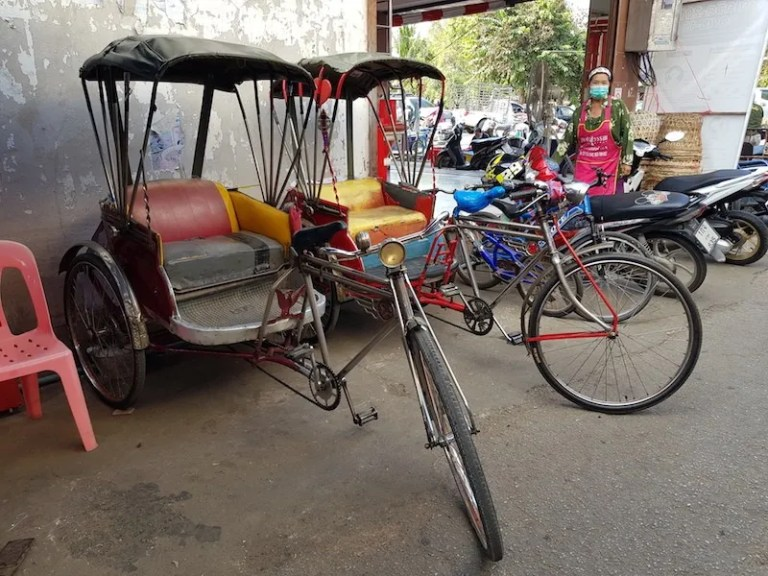two bicycle taxis