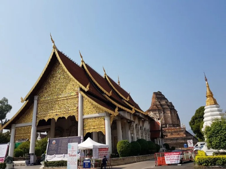 Buddhist temple with ruined chedi