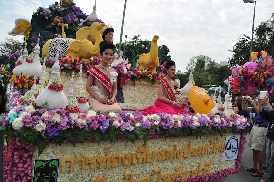Colorful float with flowers