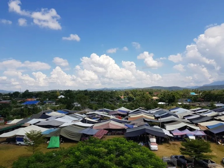 Aerial view of tented market