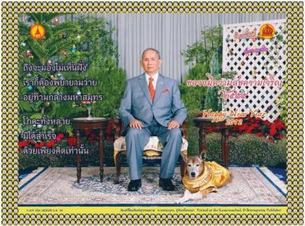 His Majesty the King yesterday delivered his 2012 New Year's television message to the people, while his New Year's card to Thai subjects showed the King with his pet dog, Khun Thong Daeng, by his side.