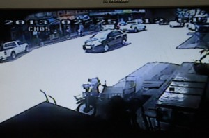 A picture from a closed-circuit security camera shows the vehicle used by the gunman who killed Prajob Naowa-opas, an environmentalist, in Chachoengsao