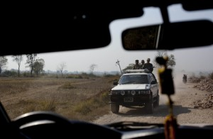 Southern Shan militia group travel in a vehicle close to Mong Pan village, central Shan state, Myanmar.