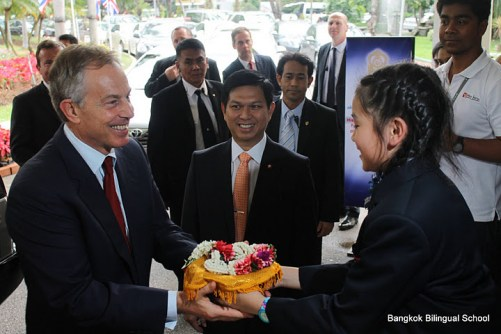 Bangkok Bilingual Student welcomes former British Prime Minister Tony Blair in 2012